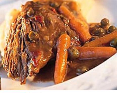 pot roast with gravy & mashed potatoes