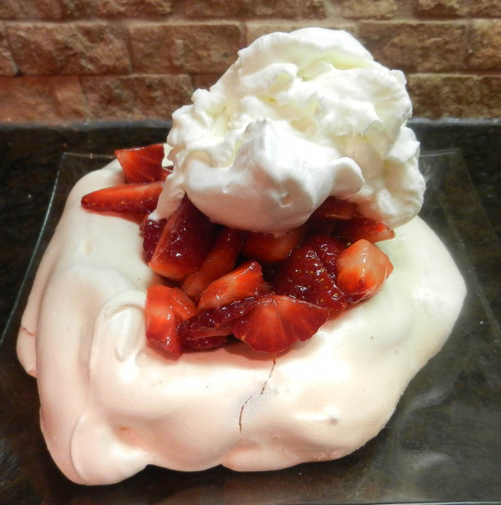 mini Pavlovas with fresh strawberries & whipped cream