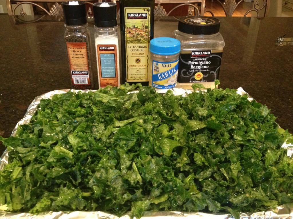 baked kale with garlic & parmesan