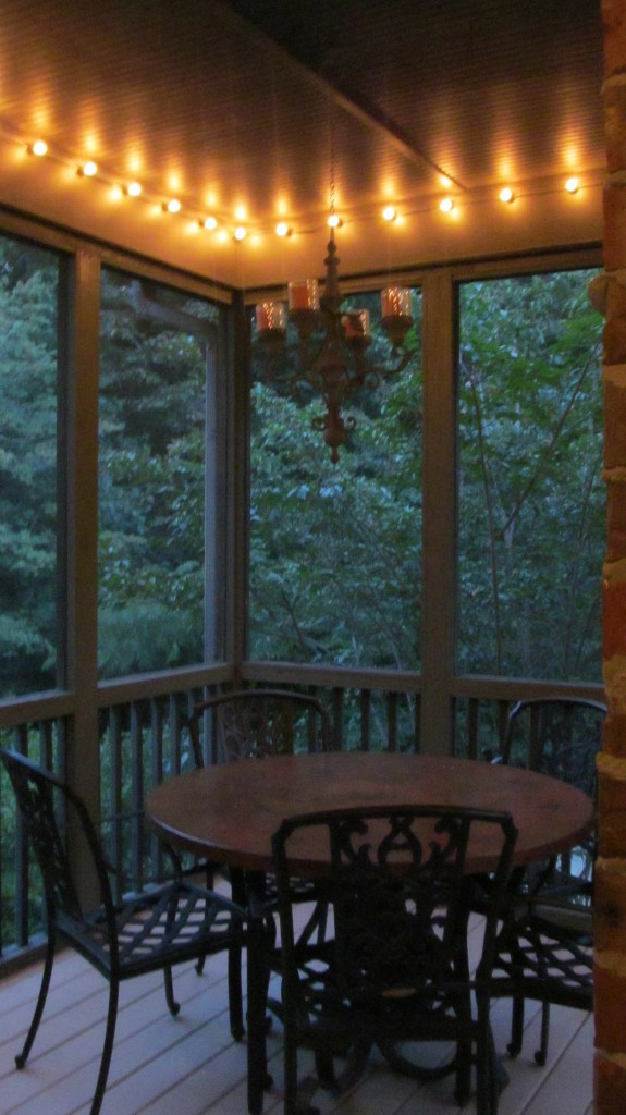 Screened porch makeover for less than 500 family savvy - How to use lights to decorate your patio ...