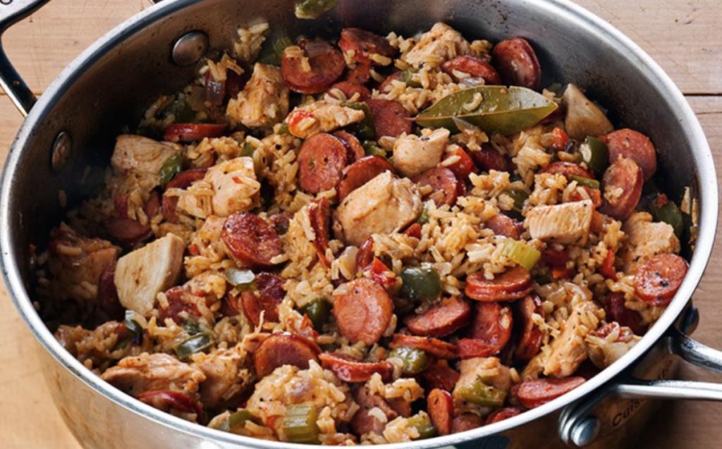 ... baked sausage jambalaya is an easy version of this popular Cajun dish