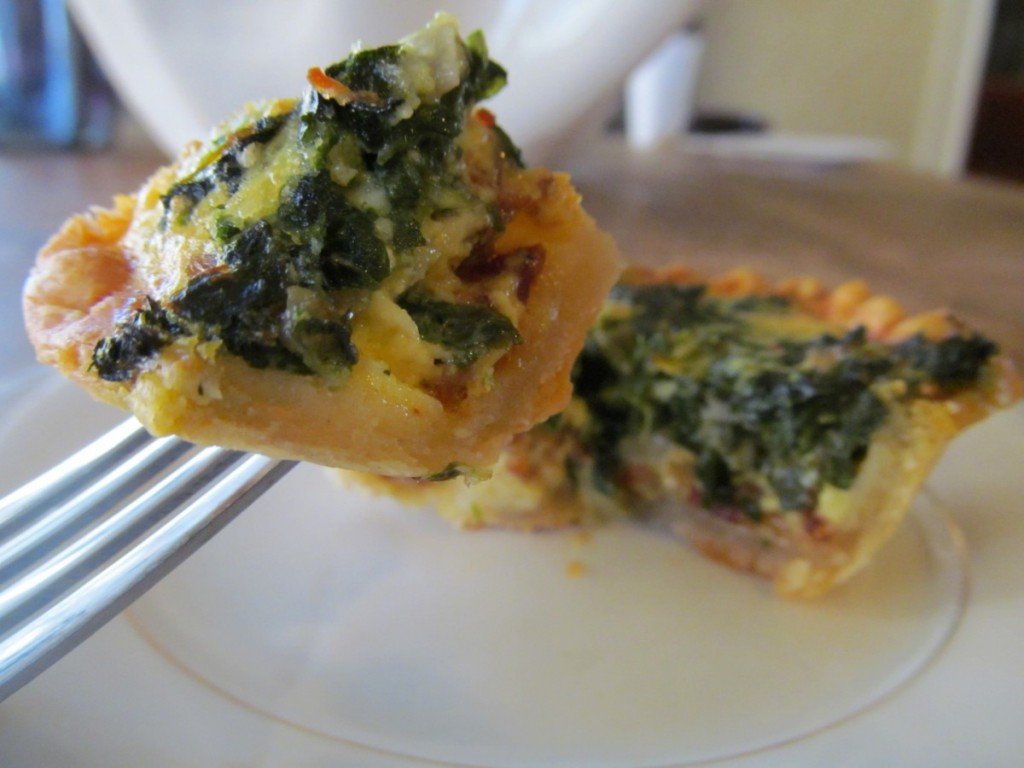 Serve these savory spinach, Gruyere & bacon quiche tartlets with sweet ...