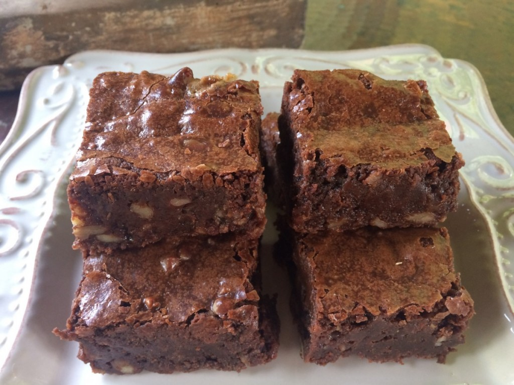 fudgy brownies with toffee and nuts