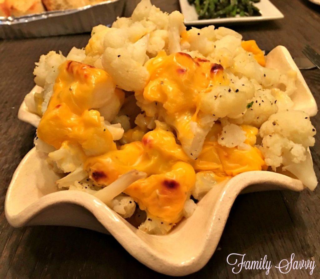 cheese topped cauliflower