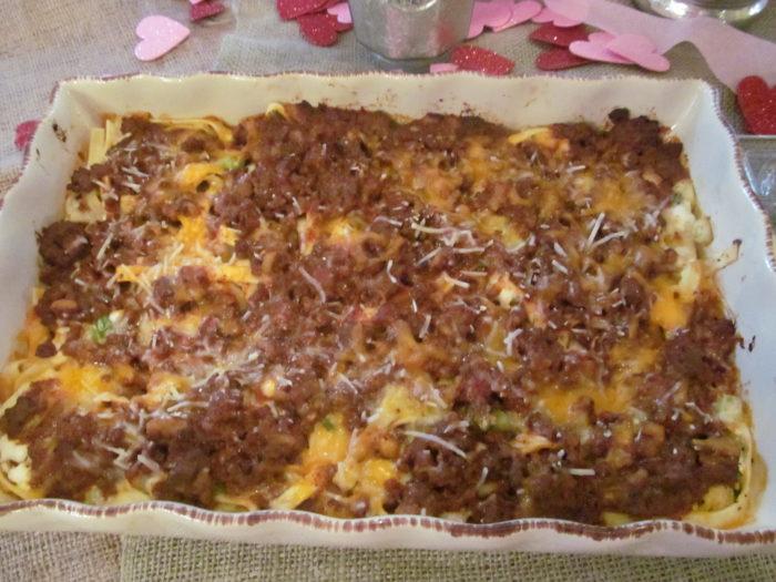 Cheesy Beef & Noodle Bake