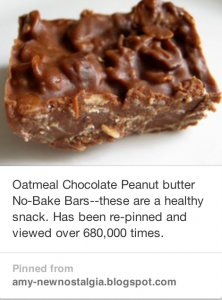 Oatmeal Chocolate Peanut Butter No-Bake Candy Bars