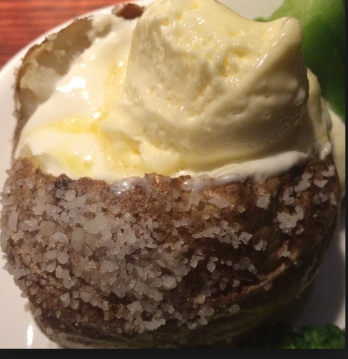 baked potato with salty skin