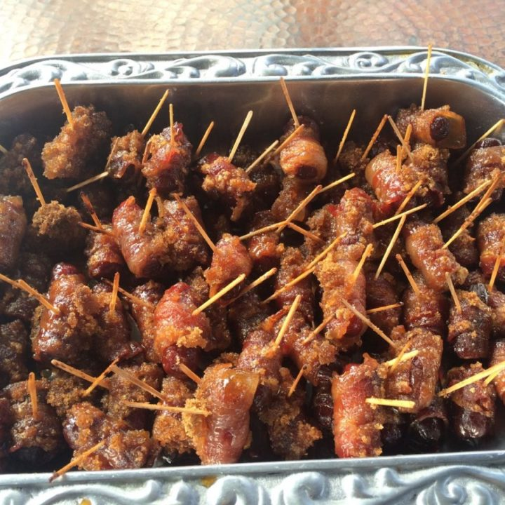 bacon wrapped brown sugar crusted little sausages