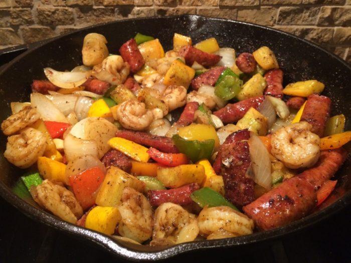 Spicy Shrimp & Sausage Skillet Meal {Paleo}