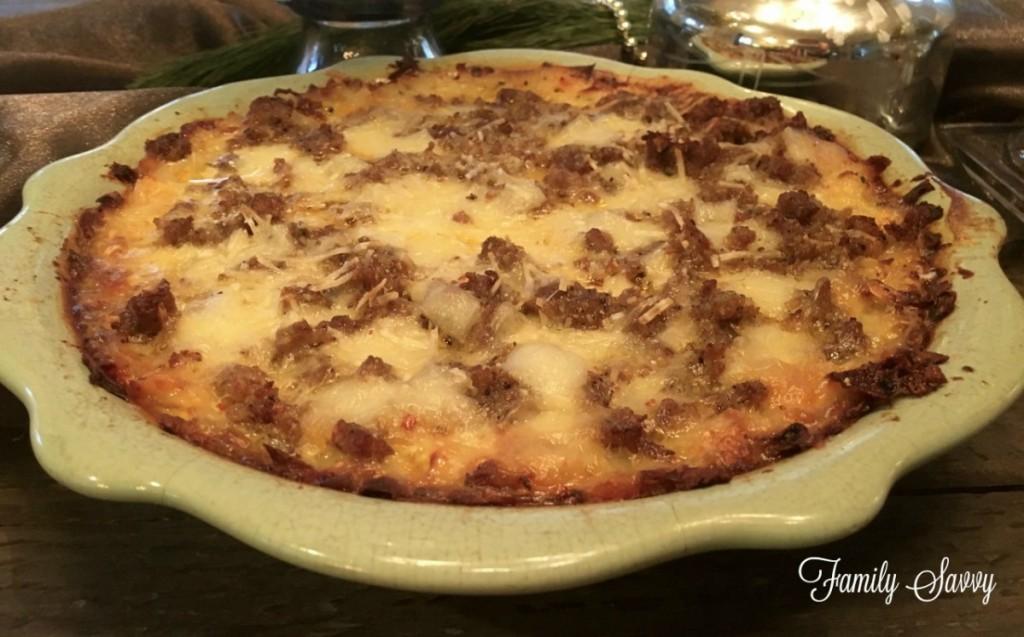 sausage swiss hash brown quiche