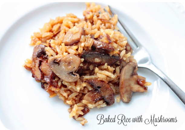Yummy Baked Rice Made with Beef Consommé and Mushrooms