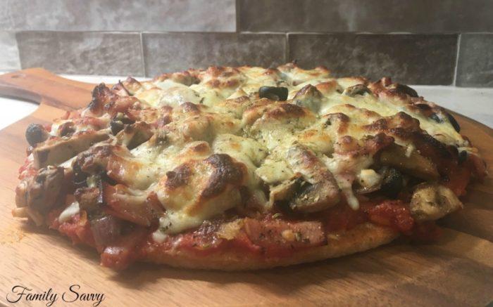 "Healthy ""Supreme"" Pizza on Trader Joe's Cauliflower Pizza Crust"