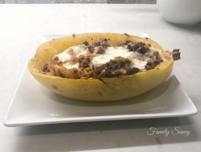 Spaghetti squash boats with Italian meat sauce & cheese