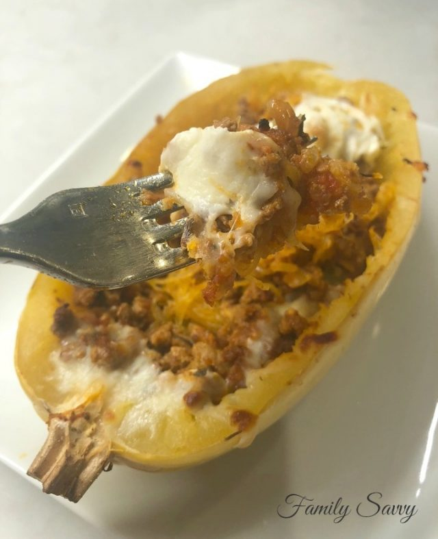 Spaghetti Squash Boats with Italian Meat Sauce & Cheese