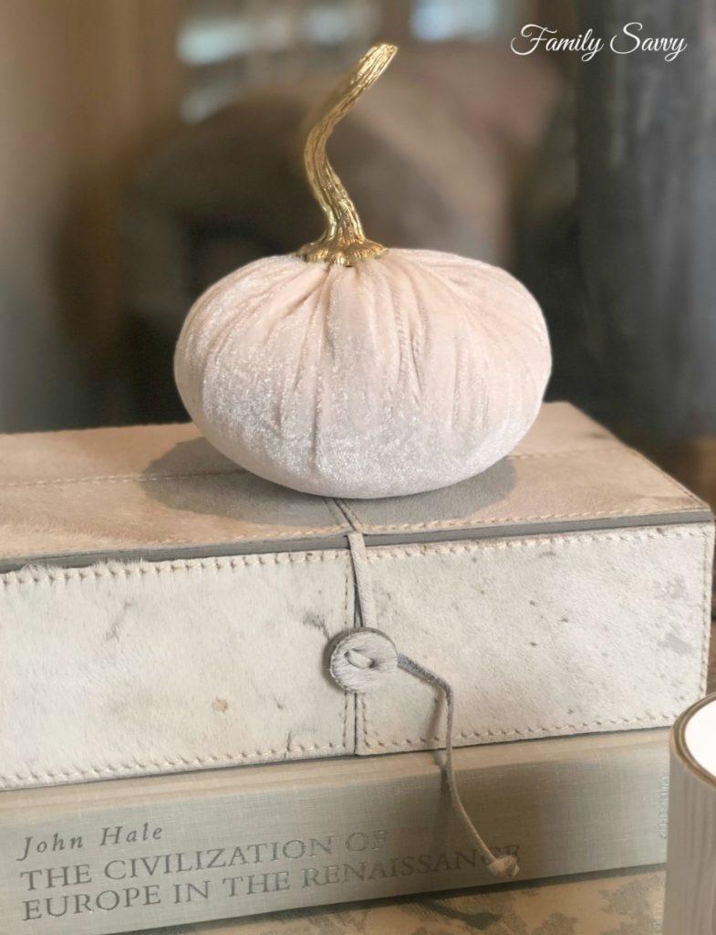 Fall Glam Decor: White Velvet Pumpkins with Gold Stems