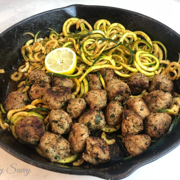 Spicy Turkey Meatballs with Lemon Zoodles