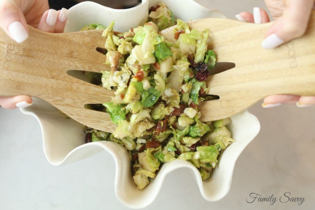 Shaved Brussels Sprouts Salad with Pecans, Pears & Gorgonzola