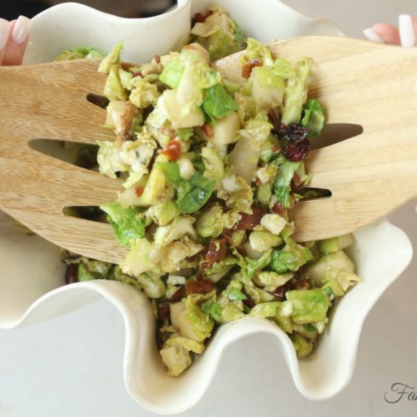 How to Make Shaved Brussels Sprouts Salad with Pecans, Pears & Gorgonzola