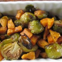 Roasted Brussels Sprouts & Sweet Potato Medley