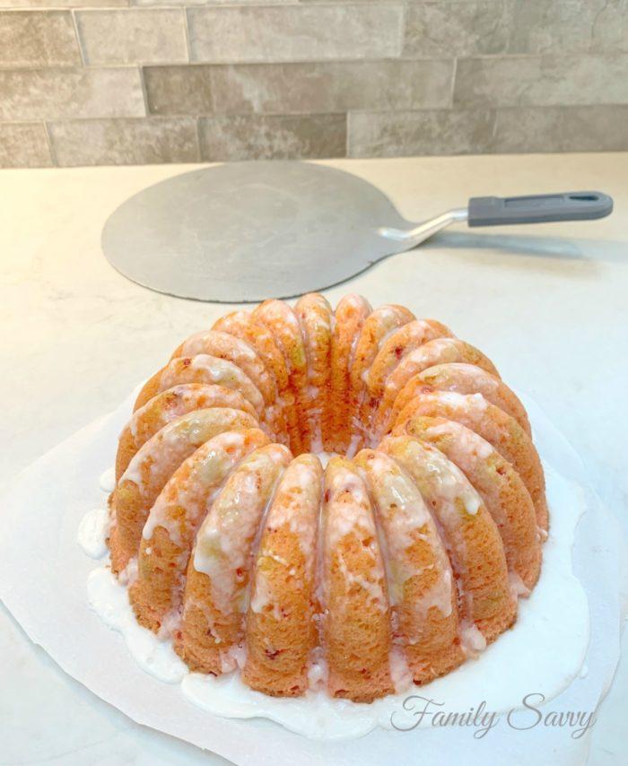 Sensational Strawberry Bundt Cake with Lemon Glaze
