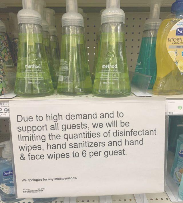sanitizer shortage
